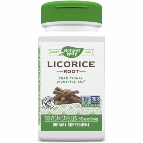Nature's Way Licorice Root Capsules 450 mg Perspective: front