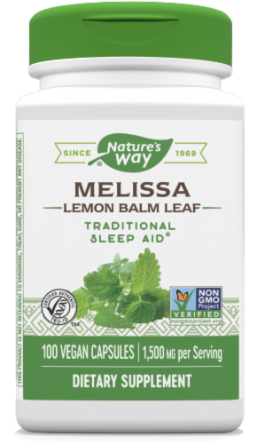 Nature's Way Melissa Leaves Capsules 500mg 100 Count Perspective: front