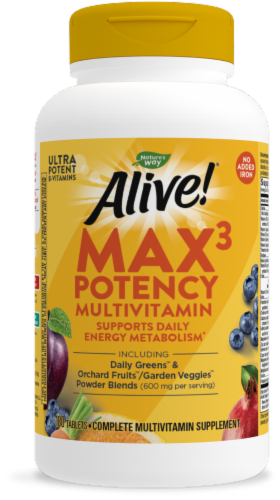 Nature's Way Alive! Iron-Free Multivitamin Max Potency Tablets Perspective: front