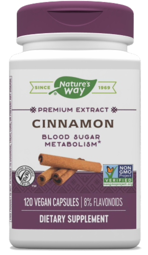 Natures Way Standardized Cinnamon Capsules Perspective: front