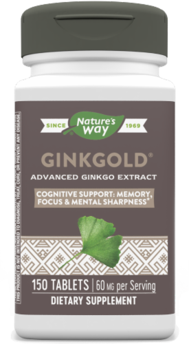 Nature's Way Ginkgold Mental Sharpness Tablets 60 mg Perspective: front