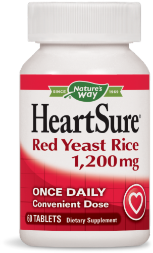 Nature's Way Heartsure Red Yeast Rice Tablets 1200 mg Perspective: front