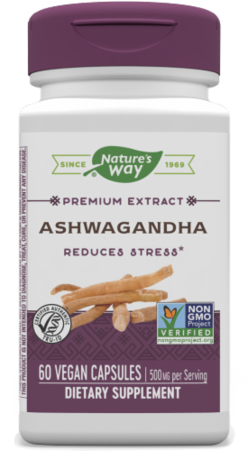 Nature's Way Ashwaganda Standardized Vcaps 500 mg Perspective: front