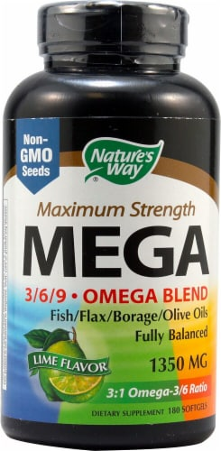 Nature's Way  MEGA 3-6-9 Omega Blend Maximum Strength   Lime Perspective: front