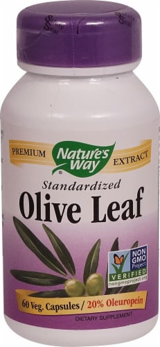 Nature's Way Standardized Olive Leaf Vegitarian Capsules Perspective: front