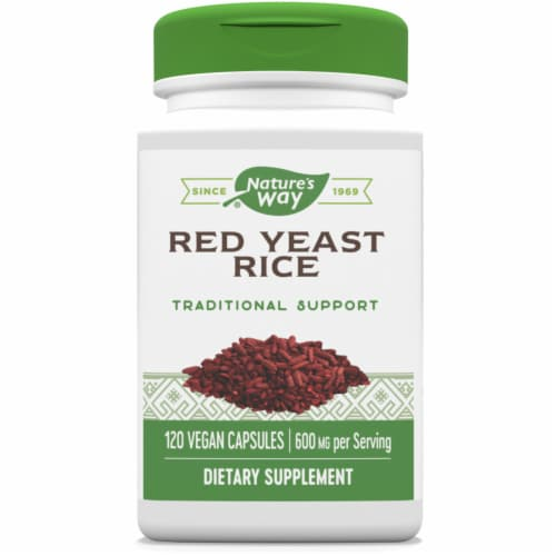 Nature's Way Red Yeast Rice Vegan Capsules 600mg Perspective: front