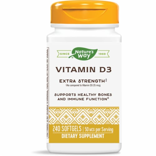 Nature's Way Vitamin D3 Softgels 50mcg Perspective: front