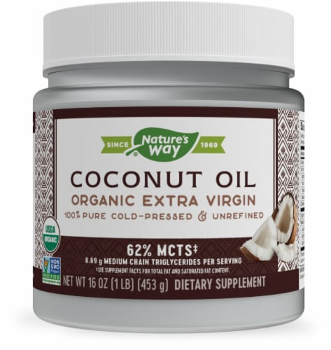 Nature's Way Organic Extra Virgin Coconut Oil Perspective: front