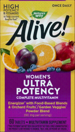 Nature's Way Alive! Women's Once Daily Ultra Potency Multi-Vitamin Tablets Perspective: front