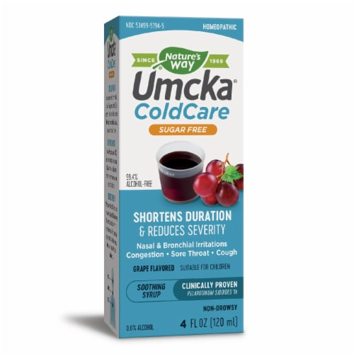 Nature's Way Umcka Cold Care Sugar Free Grape Syrup Perspective: front