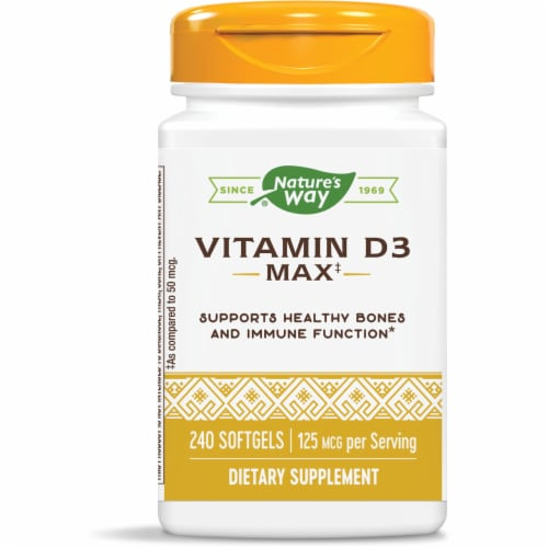 Nature's Way Vitamin D3 Max Bone and Immunity Supplement Softgels 125mcg Perspective: front