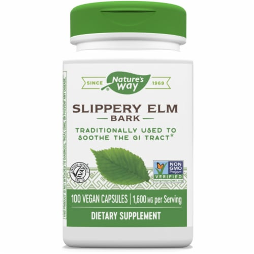 Nature's Way Slippery Elm Bark Vegan 1600mg Capsules Perspective: front