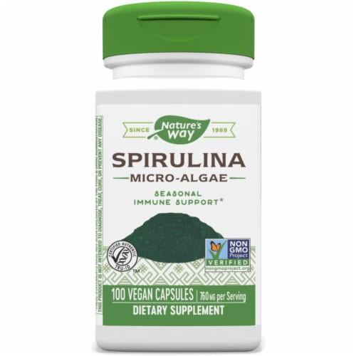Nature's Way Spirulina Micro-Algae Capsules 380 mg Perspective: front
