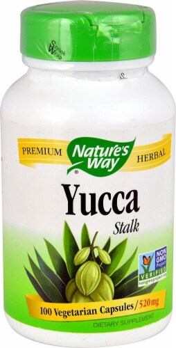 Nature's Way Yucca Stalk 520 mg Vegetarian Capsules Perspective: front