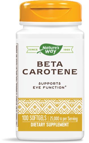 Nature's Way Beta Carotene 25000 IU Softgels Perspective: front