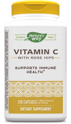 Nature's Way Vitamin C-500 with Rose Hips Capsules 1000mg Perspective: front