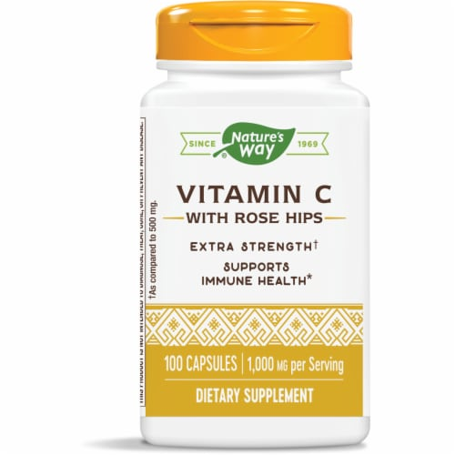 Nature's Way Vitamin C with Rose Hips Capsules 1000mg Perspective: front