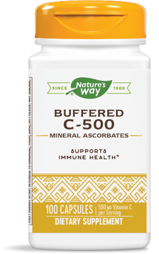 Nature's Way Buffered C-500 Mineral Ascorbate Capsules Perspective: front