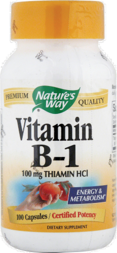Nature's Way Vitamin B1 Capsules 100mg Perspective: front