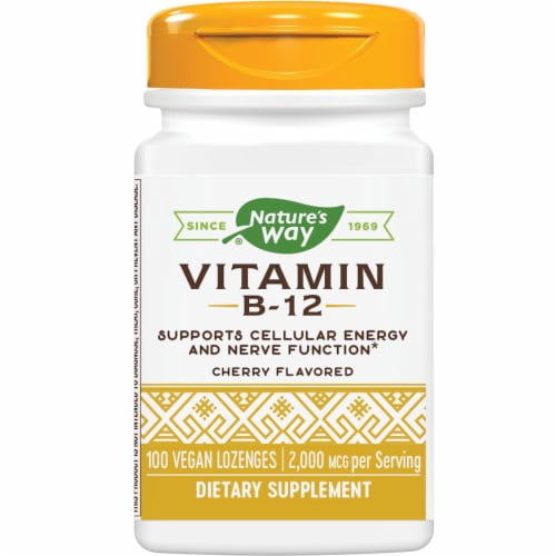 Nature's Way Cherry Flavored Vitamin B-12 Vegan Lozenges 2000mcg Perspective: front