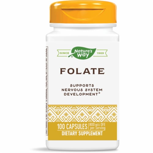 Nature's Way Folate Dietary Supplement Capsules 800mcg Perspective: front