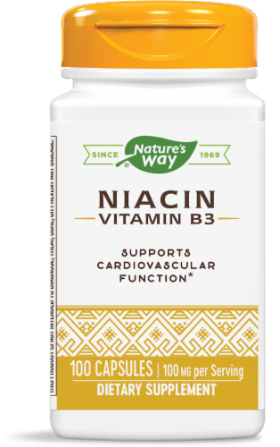 Nature's Way Niacin 100 Mg Capsules Perspective: front