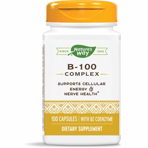 Nature's Way B-100 Complex Dietary Supplement Capsules Perspective: front