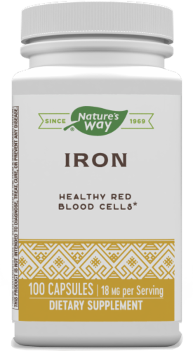 Nature's Way Iron 18 Mg Chelated Capsules Perspective: front