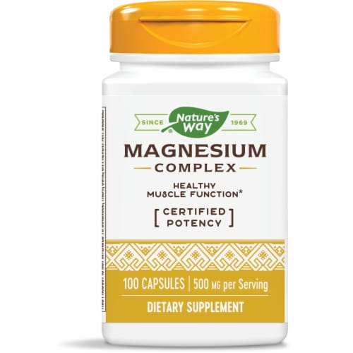 Nature's Way Magnesium Complex Dietary Supplement Capsules 500mg Perspective: front