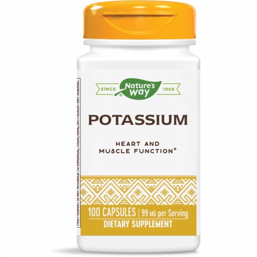 Nature's Way Potassium Dietary Supplement Capsules 99mg Perspective: front
