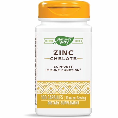 Nature's Way Zinc Chelate Dietary Supplement Capsules 30mg 100 Count Perspective: front