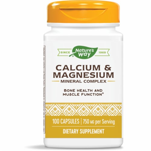 Nature's Way Calcium + Magnesium Bones & Muscles Capsules Perspective: front