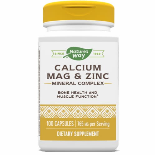 Nature's Way Calcium Mag & Zinc Mineral Complex Bones & Muscles Capsules Perspective: front
