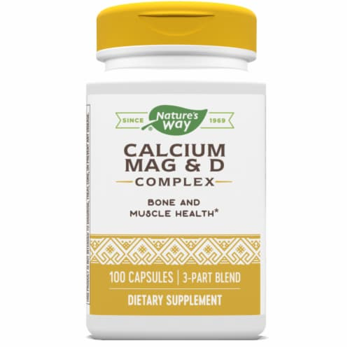 Nature's Way Calcium Mag &  D Bones & Muscle Capsules Perspective: front