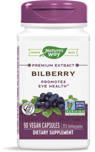 Nature's Way Bilberry Standardized Capsules Perspective: front