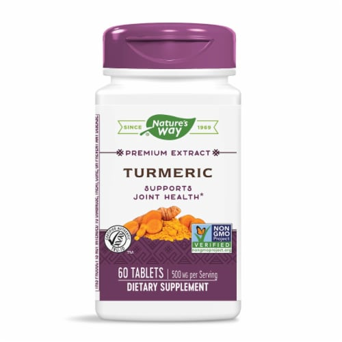 Nature's Way Tumeric Tablets 500mg Perspective: front