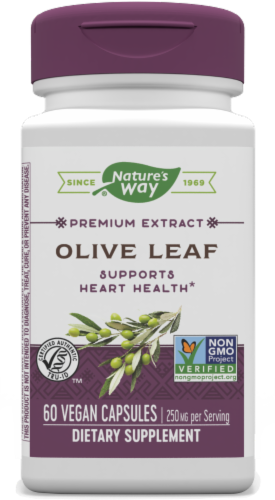 Nature's Way Olive Leaf Standardized Vegan Capsules 250mg Perspective: front