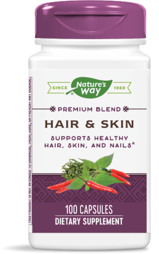 Nature's Way Hair & Skin Supplement Capsules Perspective: front