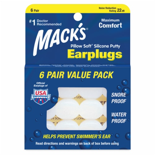 Mack's Pillow Soft Silicone Putty Earplugs Value Pack Perspective: front