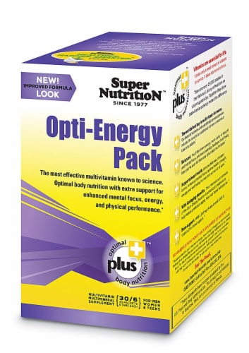Super Nutrition Opti-Energy Pack Anti-Aging Potency Multi-Vitamin Tabs Perspective: front