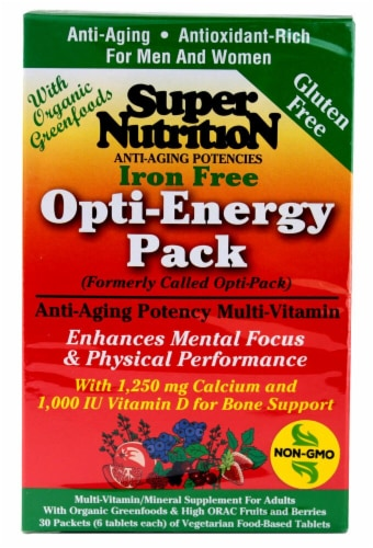 Super Nutrition Opti-Energy Anti-Aging Potency Multi-Vitamin Tablets Perspective: front