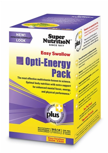 Super Nutrition Opti-Energy Pack Iron Free Easy Swallow Tablets Perspective: front