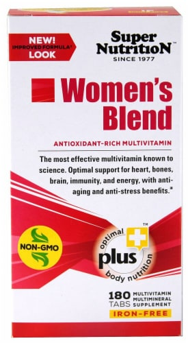 Super Nutrition  Women's Blend Antioxidant Rich Multi-Vitamin Iron Free Perspective: front