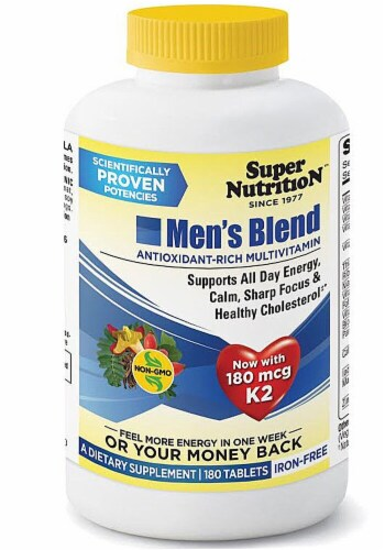 Super Nutrition  Men's Blend Antioxidant Rich Multi-Vitamin Iron Free Perspective: front