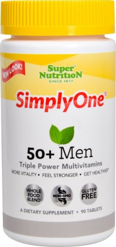 Super Nutrition  Simply One 50 Plus Men Triple Power Vitamins with Iron Perspective: front