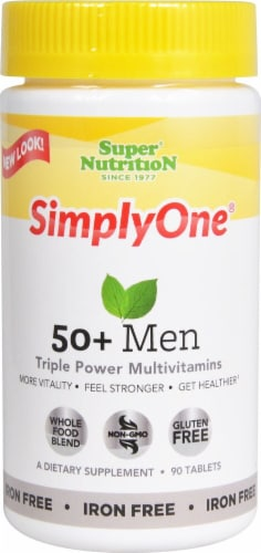 Super Nutrition  Simply One® 50 + Men Triple Power Multivitamin Perspective: front