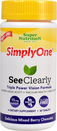 Super Nutrition SimpleOne See Clearly Mixed Berry Chewable Tablets 30 Count Perspective: front