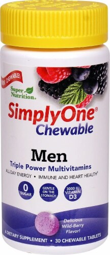 Super Nutrition SimplyOne Wild-Berry Flavor Men's Triple Power Multivitamins Chewable Tablets Perspective: front