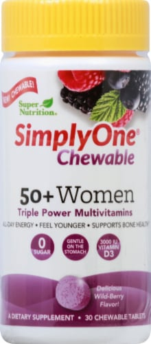 Super Nutrition SimplyOne 50+ Women Wildberry Chewable Multivitamins Perspective: front