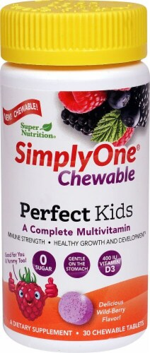 Super Nutrition SimplyOne Perfect Kids Wild-Berry Multivitamin Chewable Tablets 30 Count Perspective: front